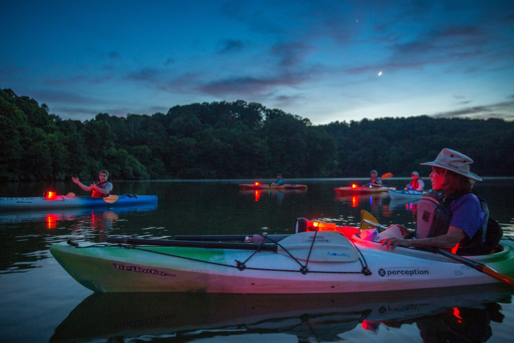 night paddle in Hocking Hills