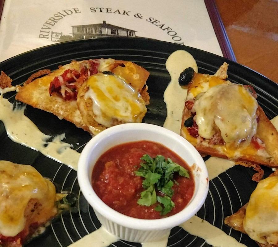 seafood nachos at Riverside Steak & Seafood