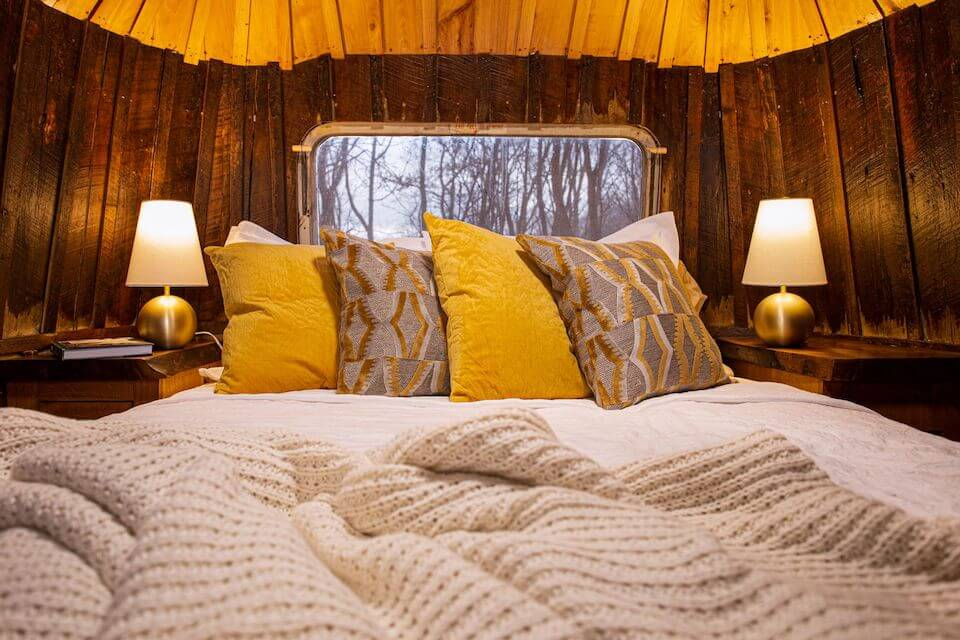 bed in silver bullet treehouse