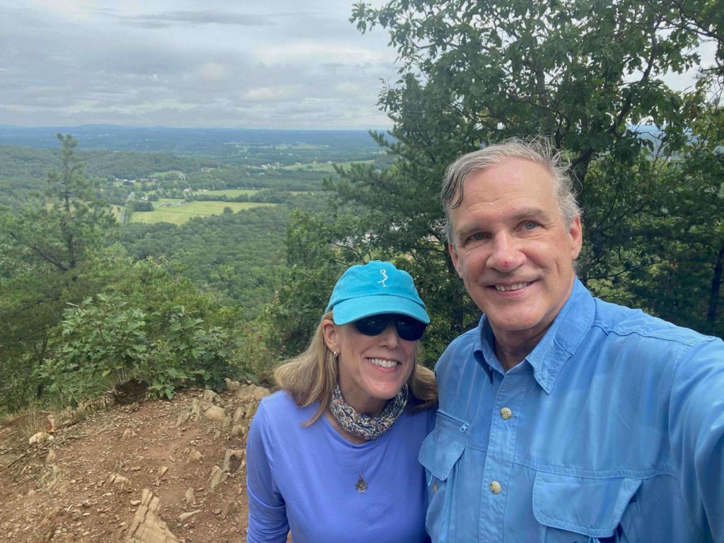 Chris Schroder and Jan schroder on hiking trail, one of the things to do in Strasburg, VA